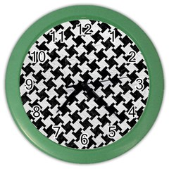 Houndstooth2 Black Marble & White Leather Color Wall Clocks
