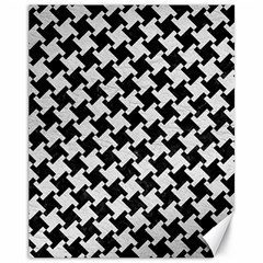 Houndstooth2 Black Marble & White Leather Canvas 11  X 14