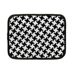 Houndstooth2 Black Marble & White Leather Netbook Case (small)