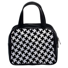 Houndstooth2 Black Marble & White Leather Classic Handbags (2 Sides)