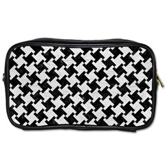 Houndstooth2 Black Marble & White Leather Toiletries Bags