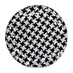Houndstooth2 Black Marble & White Leather Ornament (round Filigree)
