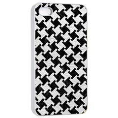 Houndstooth2 Black Marble & White Leather Apple Iphone 4/4s Seamless Case (white)