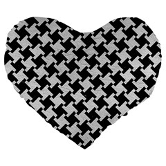 Houndstooth2 Black Marble & White Leather Large 19  Premium Heart Shape Cushions