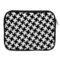 Houndstooth2 Black Marble & White Leather Apple Ipad 2/3/4 Zipper Cases
