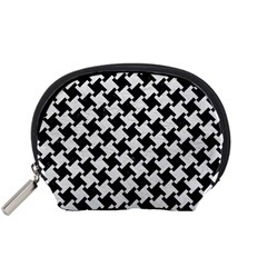 Houndstooth2 Black Marble & White Leather Accessory Pouches (small)