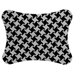 Houndstooth2 Black Marble & White Leather Jigsaw Puzzle Photo Stand (bow)