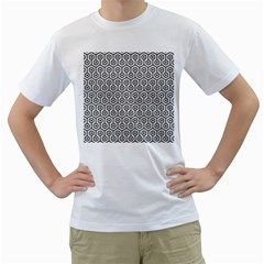 Hexagon1 Black Marble & White Leather Men s T Shirt (white) (two Sided)