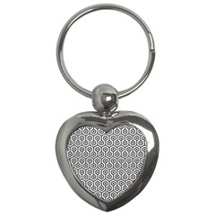 Hexagon1 Black Marble & White Leather Key Chains (heart)