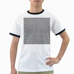 Hexagon1 Black Marble & White Leather Ringer T Shirts