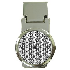 Hexagon1 Black Marble & White Leather Money Clip Watches