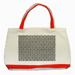 Hexagon1 Black Marble & White Leather Classic Tote Bag (red)