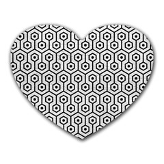 Hexagon1 Black Marble & White Leather Heart Mousepads