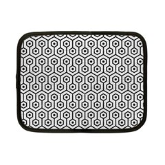 Hexagon1 Black Marble & White Leather Netbook Case (small)