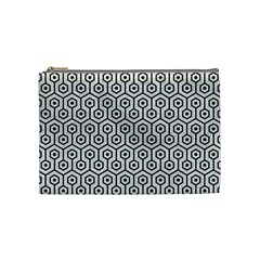 Hexagon1 Black Marble & White Leather Cosmetic Bag (medium)