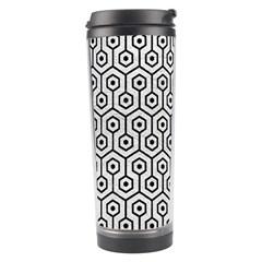Hexagon1 Black Marble & White Leather Travel Tumbler