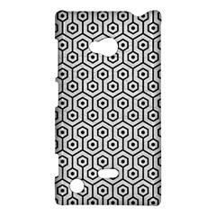 Hexagon1 Black Marble & White Leather Nokia Lumia 720