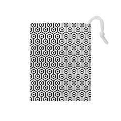Hexagon1 Black Marble & White Leather Drawstring Pouches (medium)