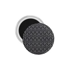 Hexagon1 Black Marble & White Leather (r) 1 75  Magnets