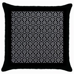 Hexagon1 Black Marble & White Leather (r) Throw Pillow Case (black)