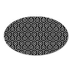 Hexagon1 Black Marble & White Leather (r) Oval Magnet