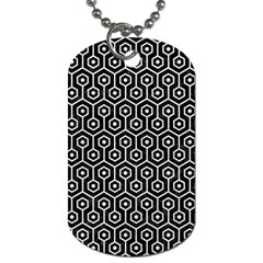 Hexagon1 Black Marble & White Leather (r) Dog Tag (one Side)