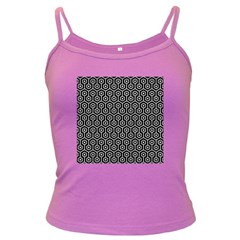 Hexagon1 Black Marble & White Leather (r) Dark Spaghetti Tank
