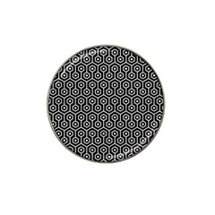 Hexagon1 Black Marble & White Leather (r) Hat Clip Ball Marker (4 Pack)