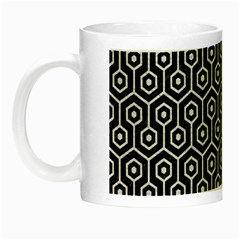 Hexagon1 Black Marble & White Leather (r) Night Luminous Mugs