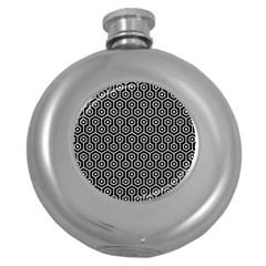 Hexagon1 Black Marble & White Leather (r) Round Hip Flask (5 Oz)