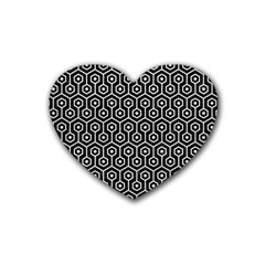 Hexagon1 Black Marble & White Leather (r) Rubber Coaster (heart)