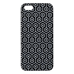 Hexagon1 Black Marble & White Leather (r) Apple Iphone 5 Premium Hardshell Case