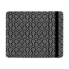 Hexagon1 Black Marble & White Leather (r) Samsung Galaxy Tab Pro 8 4  Flip Case