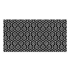 Hexagon1 Black Marble & White Leather (r) Satin Shawl