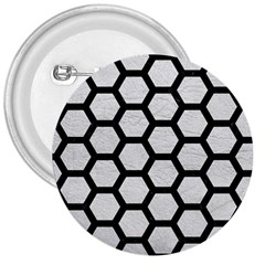 Hexagon2 Black Marble & White Leather 3  Buttons