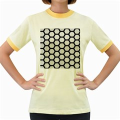 Hexagon2 Black Marble & White Leather Women s Fitted Ringer T Shirts