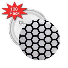 Hexagon2 Black Marble & White Leather 2 25  Buttons (100 Pack)