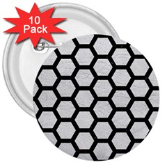 Hexagon2 Black Marble & White Leather 3  Buttons (10 Pack)