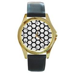 Hexagon2 Black Marble & White Leather Round Gold Metal Watch