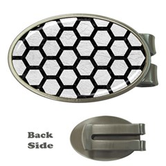 Hexagon2 Black Marble & White Leather Money Clips (oval)