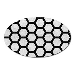 Hexagon2 Black Marble & White Leather Oval Magnet