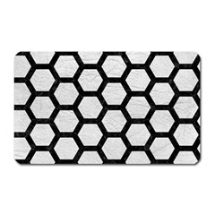 Hexagon2 Black Marble & White Leather Magnet (rectangular)