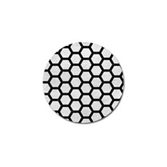 Hexagon2 Black Marble & White Leather Golf Ball Marker (4 Pack)