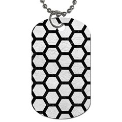 Hexagon2 Black Marble & White Leather Dog Tag (two Sides)