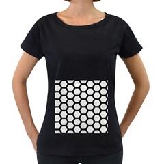 Hexagon2 Black Marble & White Leather Women s Loose Fit T Shirt (black)