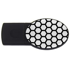 Hexagon2 Black Marble & White Leather Usb Flash Drive Oval (4 Gb)