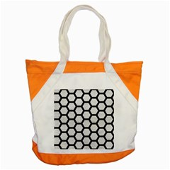 Hexagon2 Black Marble & White Leather Accent Tote Bag