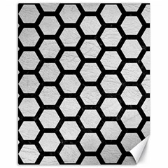 Hexagon2 Black Marble & White Leather Canvas 16  X 20