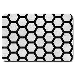Hexagon2 Black Marble & White Leather Large Doormat