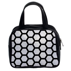 Hexagon2 Black Marble & White Leather Classic Handbags (2 Sides)